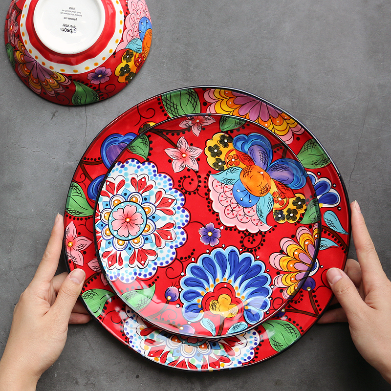 Foreign trade high quality a red Tableware hand painted bohemian style Ceramic Plate Western dish salad bowl Decoration tray
