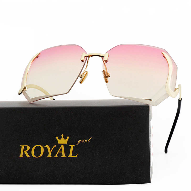 Royal Girl 2017 New Oversized Women Sunglasses Rimless Fashion Brand Designer Clear Lens Eyewear Big Integrated Goggles ss149
