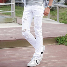 MCCKLE Fashion White Ripped Jeans Men Skinny Distressed Denim Joggers With Holes Torn Destroyed Jean Pants
