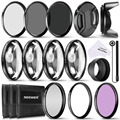 Neewer 52MM Complete Lens Filter Accessory Kit for 52MM Filter Size Lenses:UV CPL FLD Filter Set+Macro Close Up Set (+1+2+4+10)