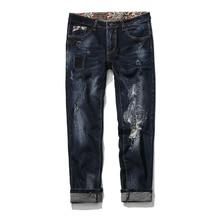 2017 мужская мода прямые черные сломанные отверстие джинсы мужские брюки высокое качество 100% хлопок Свободный стиль джинсы мужчины Super size 29-46