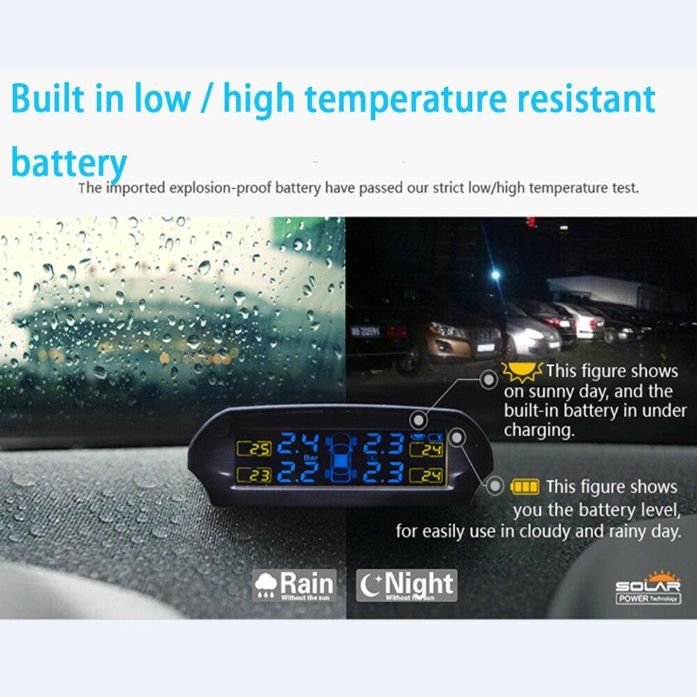 imágenes para TP-810 Solar fuente de Alimentación LED de Alarma de Presión de Los Neumáticos TPMS Sistema de Monitoreo de Presión de Neumáticos de Coche Inteligente con 4 Sensor Externo