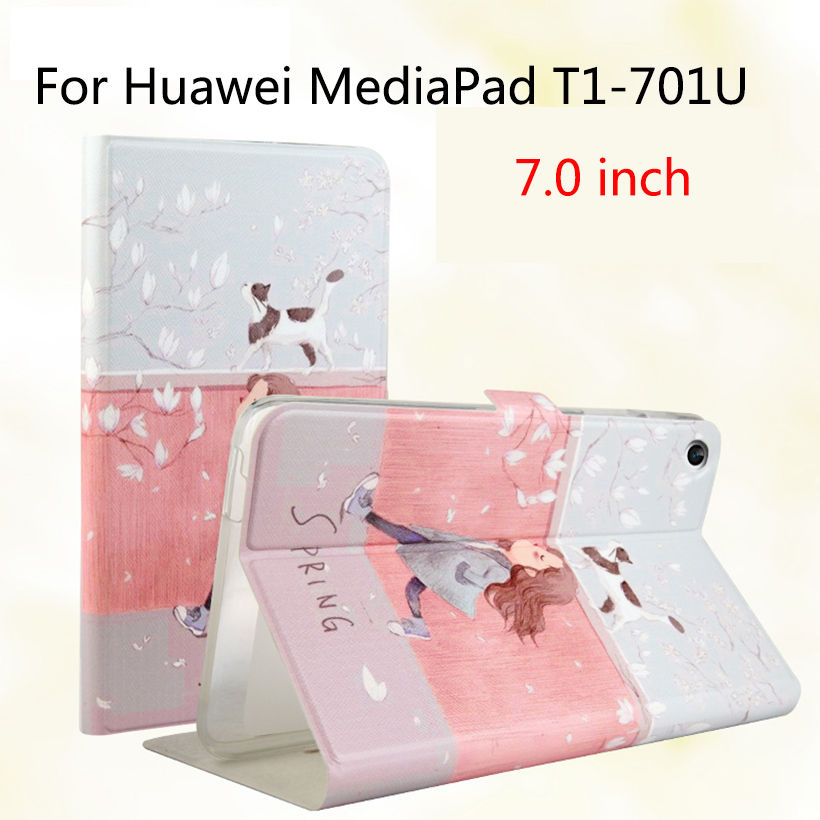 Fashion For Huawei T1 7.0 T1-701U Silicone PU Leather Cover Case Funda For Huawei Mediapad T1 7.0 T1-701U Tablet Skin Stand Case