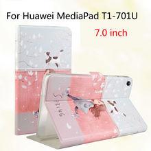 Moda para huawei t1 7.0 t1-701u de silicona caso de la cubierta de cuero de la pu funda para huawei mediapad t1 7.0 t1-701u tablet caso del soporte de la piel