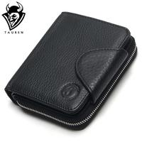 TAUREN 100 Genuine Leather Cowhide Men Black Coin Purse Card Holder Male Wallets Big Capacity Short