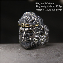 цены 925 Sterling Silver Men Unique Rings Vivid Head portrait  Thai Silver Personality Open Black Ring for Men Unique Jewelry