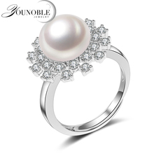 Big Natural freshwater pearl ring for women gift 925 sterling silver adjustable with AAAAA natural jewelry wedding