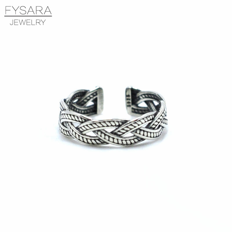 FYSARA Brand 925 Sterling Silver Rings For Women Men Classic Wave Sterling-Silver-Jewelry Intersect Twist Of Fate Finger Rings