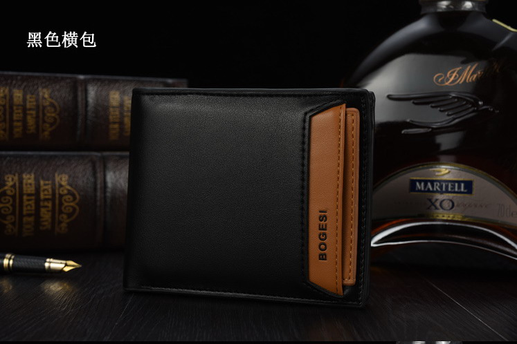 Mens Bag Famous Brand BOGESI Designer Luxury Short Mens Wallets Card Holder Black PU Leather Vallet Wallets ...