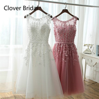 Short Bridesmaid Dress Cheap Knee Length Lace With Tulle Pink White Robe Demoiselle D Honneur Short