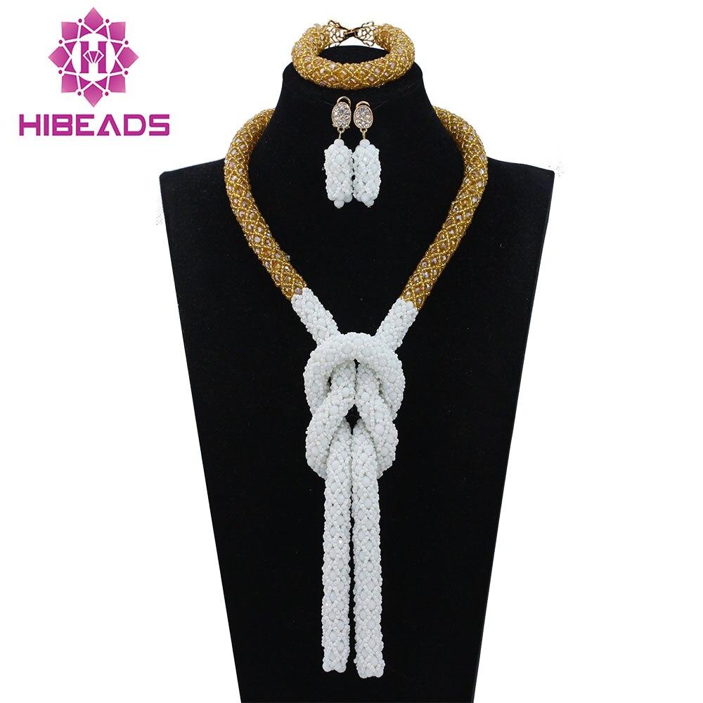 Fantaisie blanc et or torsadé corde collier de mariage ensemble bijoux de mode africaine ensemble perles de cristal pour la mariée livraison gratuite WD704