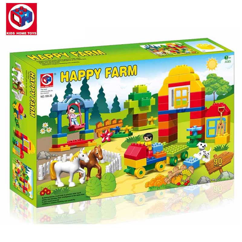 Kid's Home Toy Large Size Happy Farms Ranch Animals Model Building Blocks Bricks Toys Swing Amusement Block Compatible Duplo mr froger carcharodon megalodon model giant tooth shark sphyrna aquatic creatures wild animals zoo modeling plastic sea lift toy