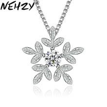 NEHZY-collier en argent Sterling pour femmes, pendentif de luxe, pendentif flocons de neige en feuille douce, bijou à la mode, 925