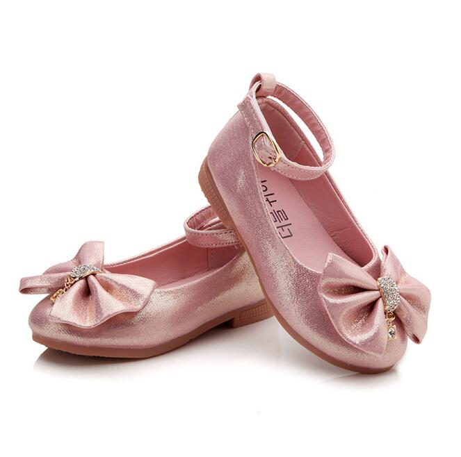Children Princess Shoes Pink  Gold Silvers Band Soft Sole PU Leather Fashion  Bowknot Rhinestone Flower Girls Dress Shoes dbe92747562a