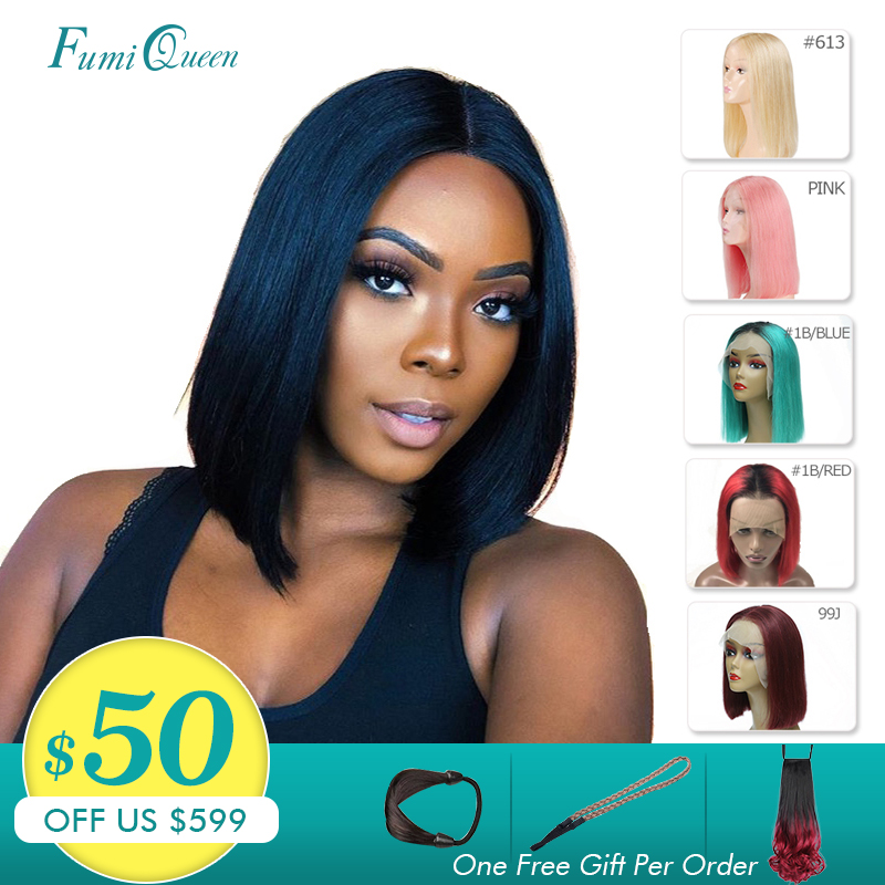 13X4 Short Bob Wigs 613/Yellow/Red/Blue/Black/Green/Pink/Grey Remy Brazilian Ombre Lace Front Wig Ali Fumi Queen Human Hair Wigs