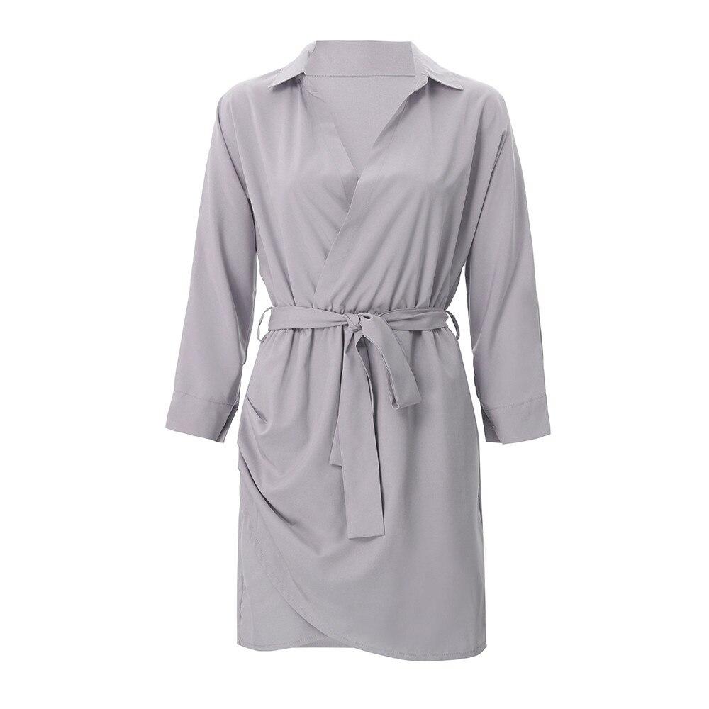 Shirt Fashion Summer Dress Women Autumn Dress Long Sleeve Turn-Down Collar T Shirt Dress 4 Colour Casual Mini Office Dress