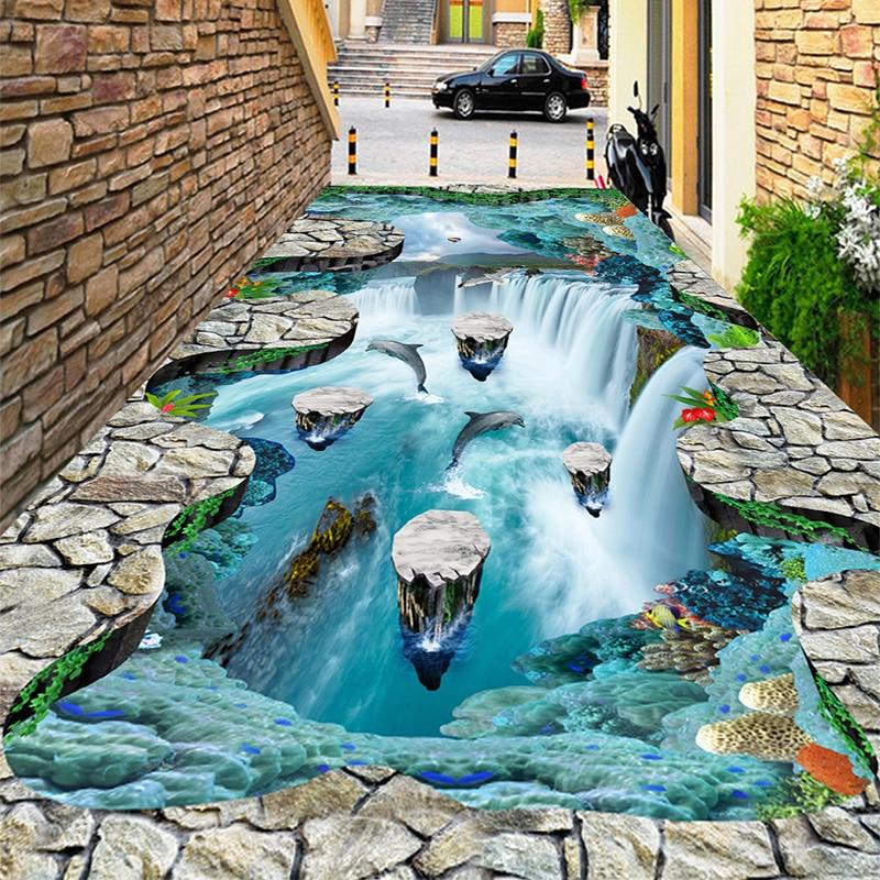 Photo Wallpaper 3D Stereo Cliff Waterfalls Floor Tiles Sticker Outdoors Bathroom Living Room Hallways PVC Wear Waterproof Murals