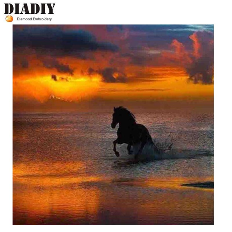 5D Diy diamond painting cross stitch Horse sunset sea Full Round Diamond embroidery Needlework Rhinestone Mosaic Crafts