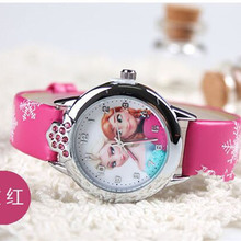 2017 Fashion Presale New Princess Elsa Anna Cartoon Watches Children Watch Girl Kids Students Cute Leather quartz Wrist Watches