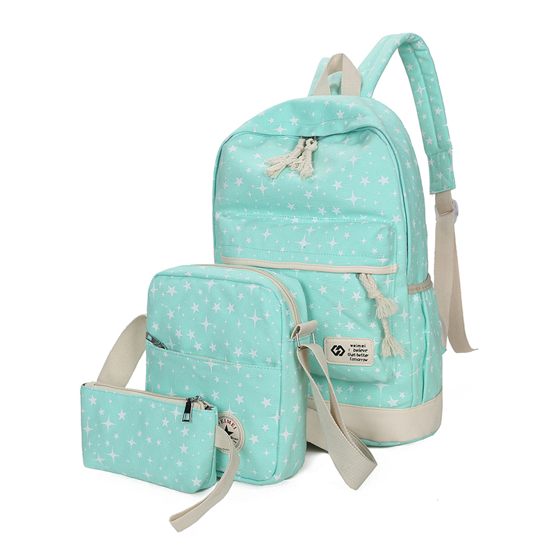 Preppy Style Stars Printing Backpack Women Student School Bags Travel Backpacks For Teenage Girls Mochilas 3pcs/set
