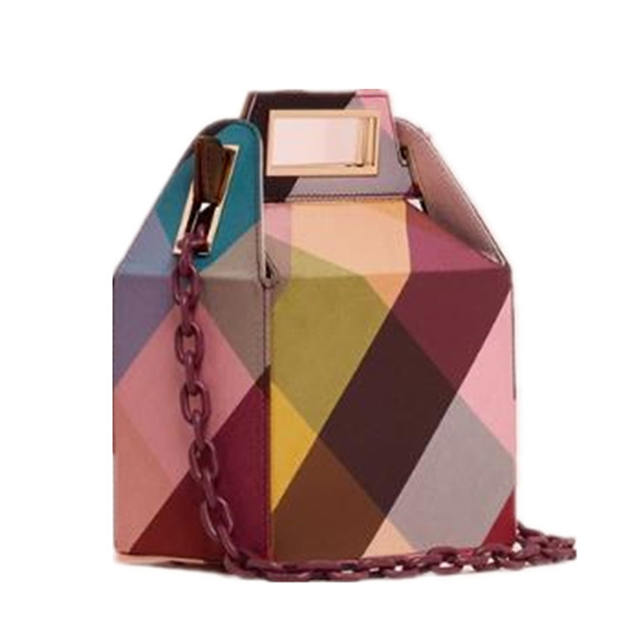 Ins Acrylic Chains Box Bag for Women Winter Corduroy Color Plaid Printing Handbags Ladies Girls Shoulder Bags Brands Design Chic stylish striped and metallic chains design shoulder bag for women