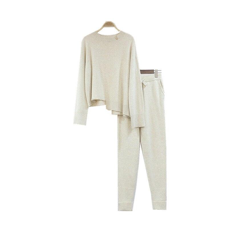 Irrégulière Tricot Pièce beige Sexy 2018 2 Pantalon Femelle Arrivée De Gris Manches Deux Mode À Laine Cachemire En pièce Longues Chandail Ensemble Nouvelle Femmes grvxqYwvR8