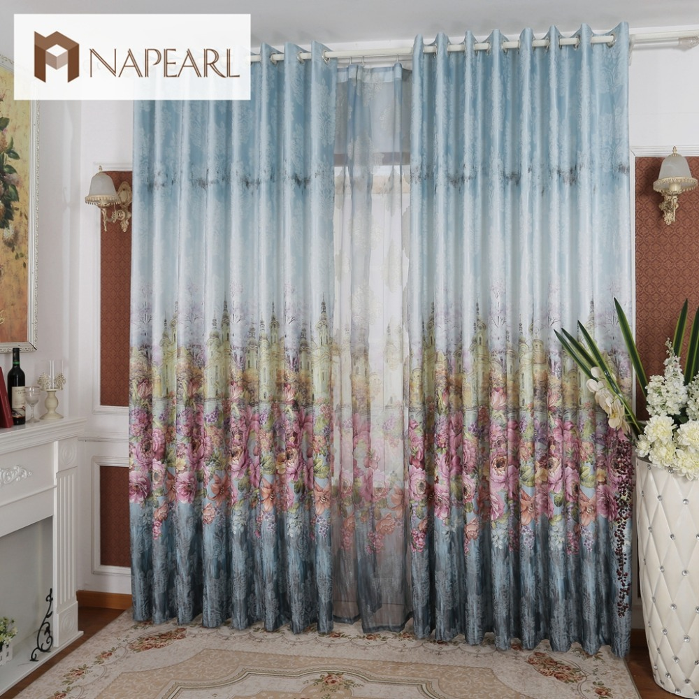 European style luxury ready made curtains for living room Contemporary drapes window treatments