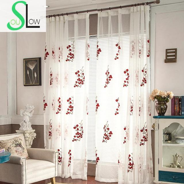 Slow Soul Red Plum Garden Embroidered Linen Curtain Pastoral Floral Curtains  For Living Room Tulle Kitchen