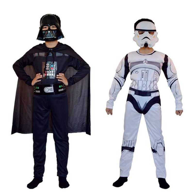 Star Wars Darth Vader cos Cosplay Costumes Anime Cosplay Jumpsuits Set Christmas Halloween Costume for kids Boys High Quality