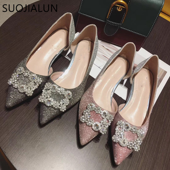 SUOJIALUN Spring Women's Pointed Toe Ladise Shoes Casual Rhinestone Low Heel Flat Shoes Elegant Bling Crystal Shiny Flat Ballet