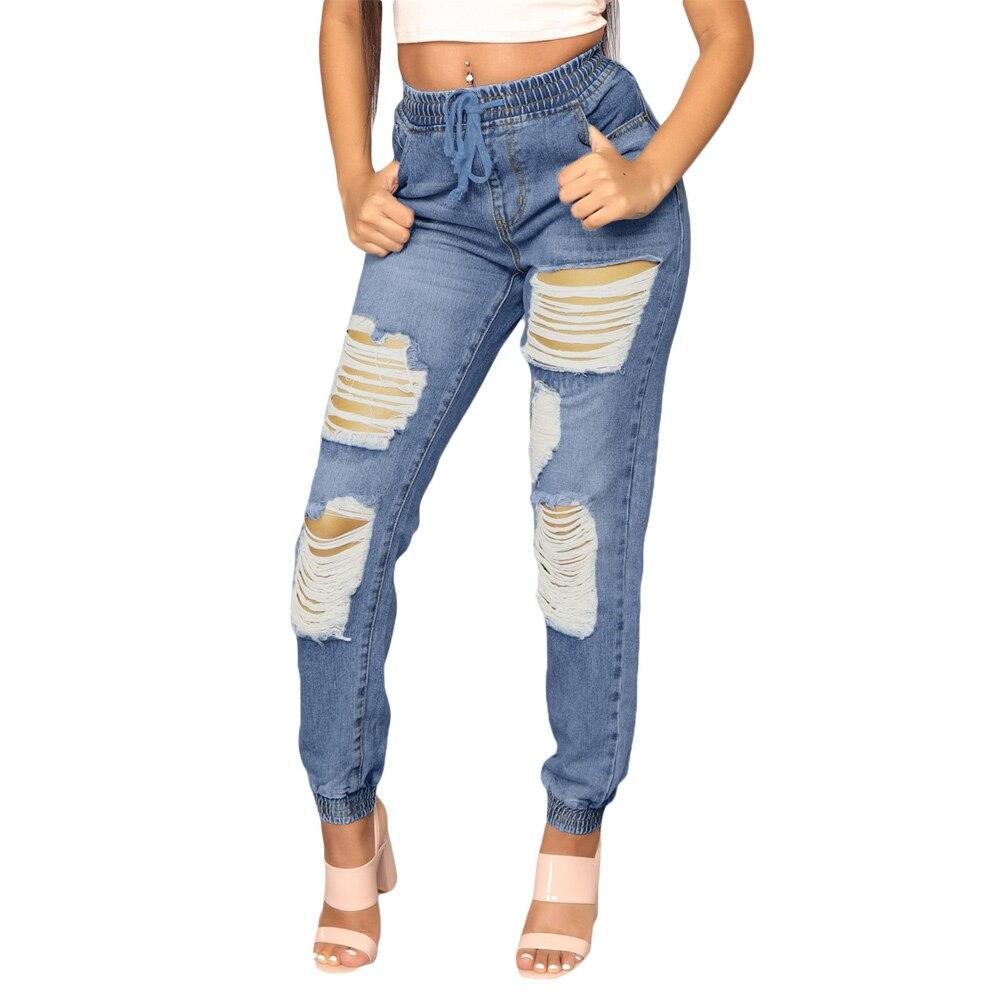 2019 nuevo otoño lápiz pantalones de cintura alta Pantalones novio agujero vaqueros Cool Denim Vintage recto Jeans mujeres