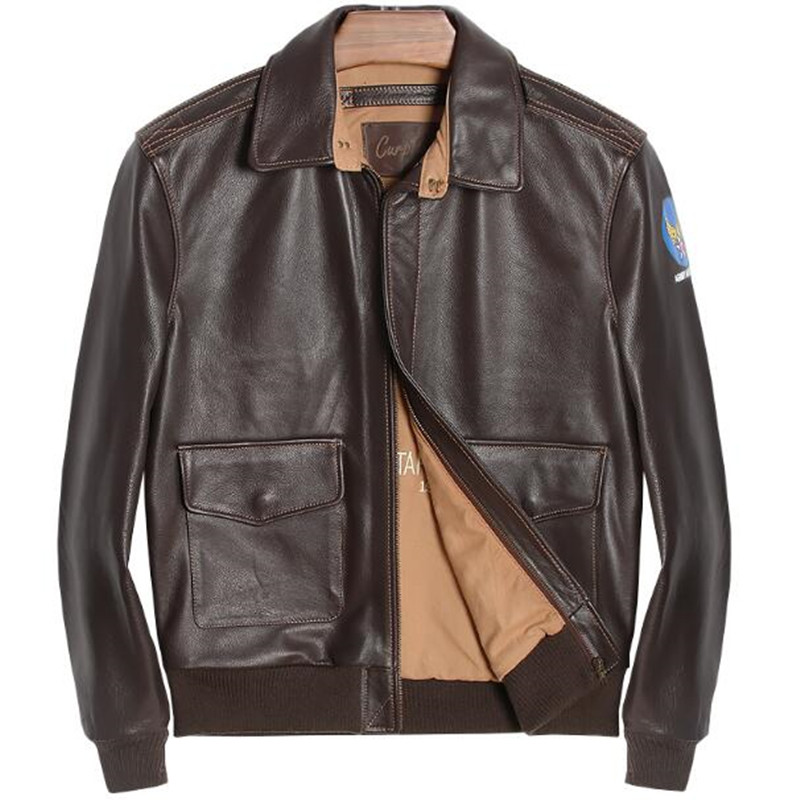 Genuine Leather Jacket Coat Men Motorcycle Winter Real Sheepskin Bomber American Pilot Jacket Brown US Air Force Flight Jackets Куртка