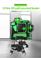 New Green Laser Level 12 Lines 3D Level Self Leveling 360 Horizontal And Vertical Cross Super Powerful Green Laser Level