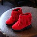 YNB Otoño Invierno Niña Botas Niños Niños Zapatos de Cuero franja de Mitad de la Pantorrilla Botas de Moda Para Chica Negro Marrón Rojo Niñas botas