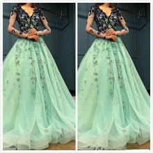 Mint Lace Beaded Arabic evening dress 2019 Evening Dresses Long Sleeves V-neck A-line Prom Dresses Formal Party Pageant Gown цена и фото