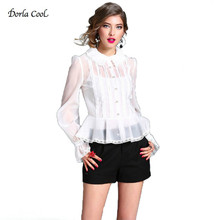 Dorla Cool Sexy Organza Blouses For Women Peter Pan Collar 2017 Women's Blouses White Shirt Black with Camis Ruffles Hem Top New