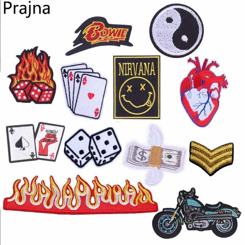 Prajna Fire Nirvana Bowie Patch Snake Dice Cheap Embroidered Patches Badge Poker Card Applique Sew Iron On Patches For Clothes