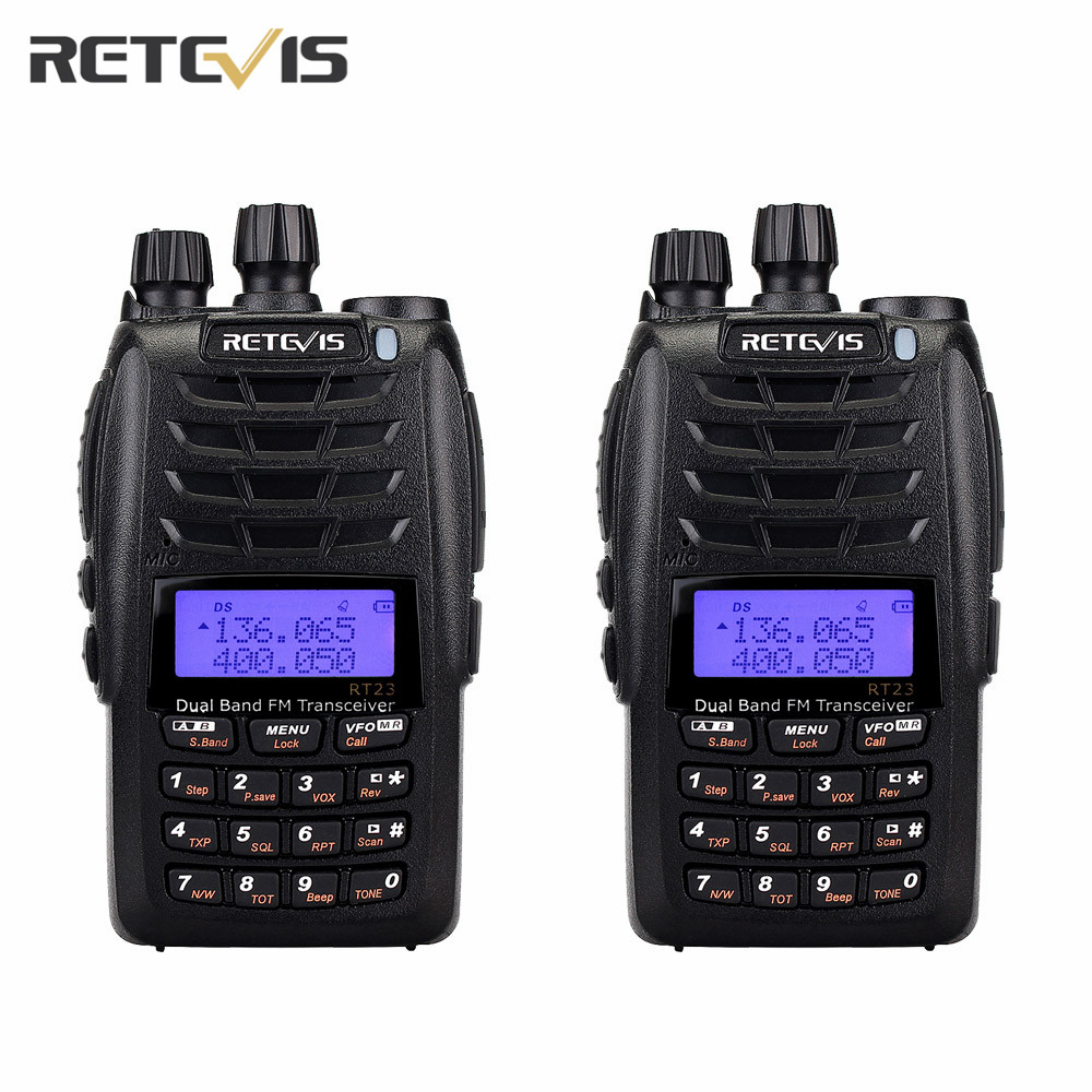 2pcs Retevis RT23 Walkie Talkie Cross Band Repeater UHF+VHF136 174/400 480Mhz 5W Dual PTT/Receiver 128Ch 1750Hz DTMF Radio A9122