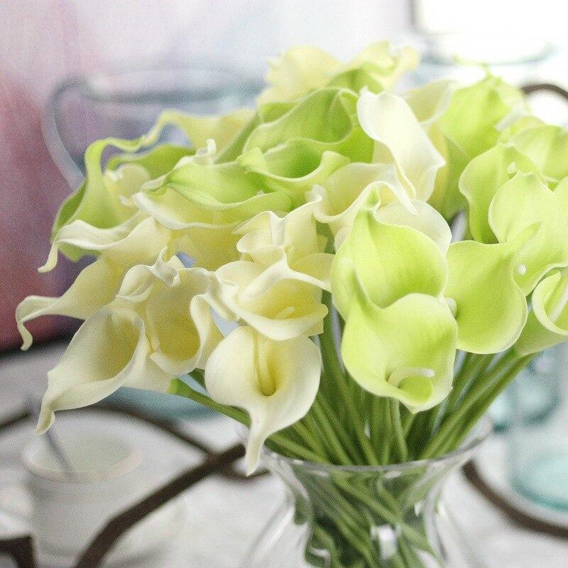 5PCS / lot 인공 꽃 PU 미니 칼라 칼라 릴리 신부 웨딩 홈 장식 꽃다발 머리 리얼 터치 인공 저렴한 꽃