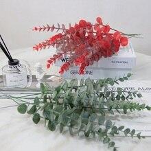 Имитация зеленого растения один лист эвкалипта имитация сухой ветки искусственный цветок для свадьбы съемки реквизит украшение дома