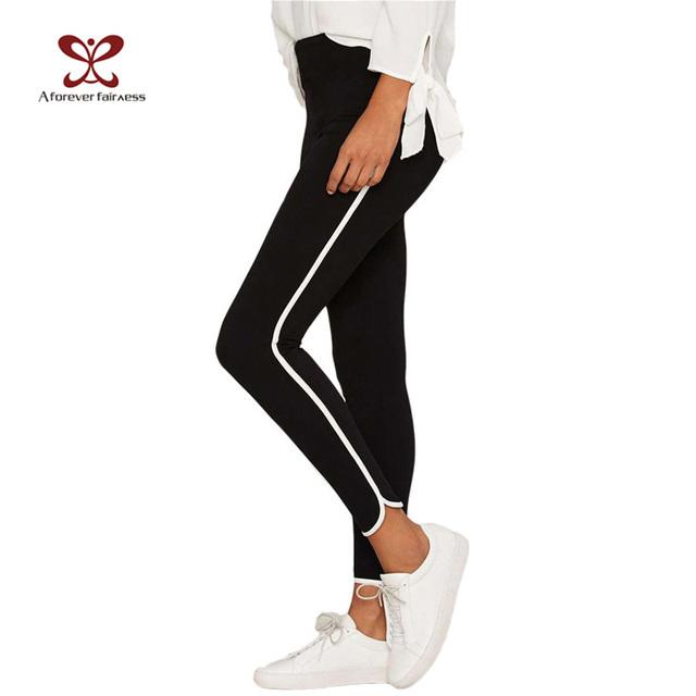 Un Para Siempre 2017 Resorte de Las Mujeres Leggings Delgado Elástico Negro de Cintura Alta Lápiz Pant Leggings Side Blanco Tubería Abajo Legging NC-1161