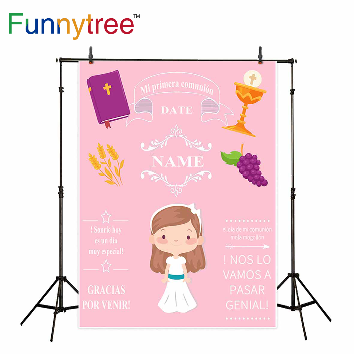 Funnytree photography backdrop pink girl photophone first communion decoration party details custom photo background photozone