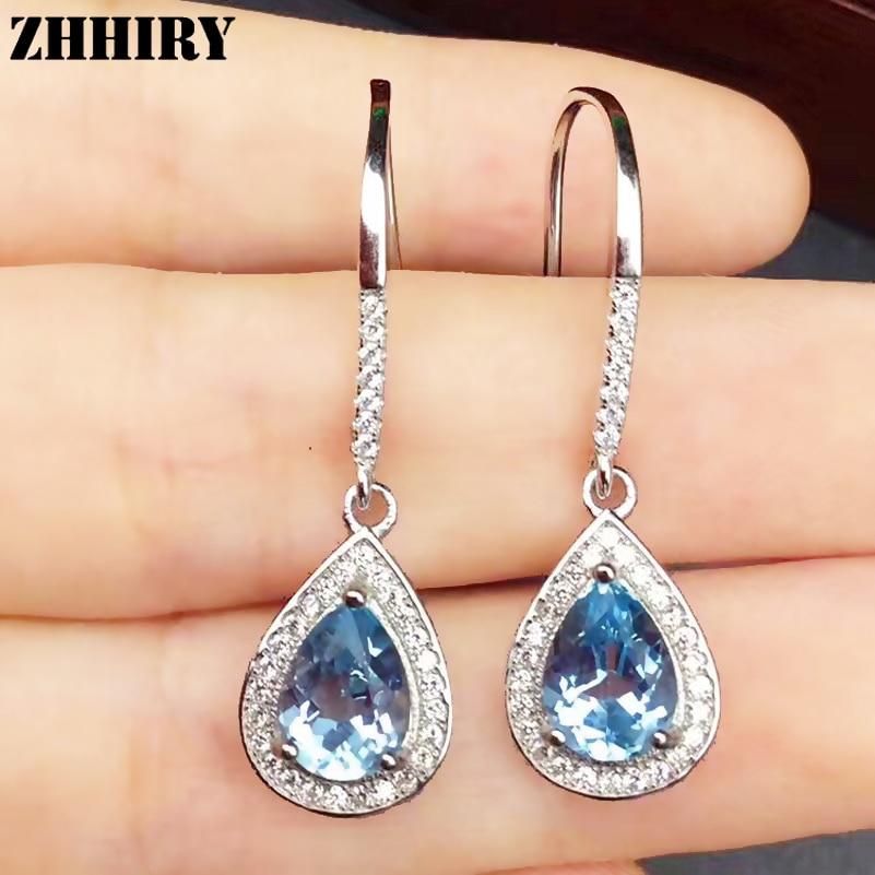 ZHHIRY Natural Topaz Stone Drop Earring Genuine 925 Sterling Silver Woman Colored Gem Earrings artificial gem rhinestone drop earrings