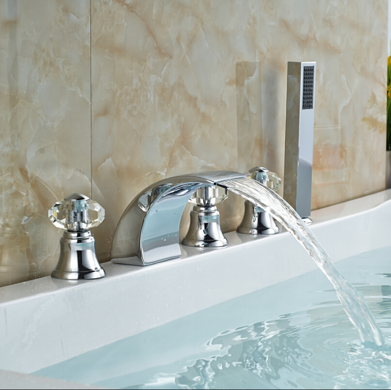 Deck Mounted Triple Handles Bathroom Bathtub Shower Faucet with Hot Cold Water Chrome 2015 limited chrome shower panel copper bathtub faucet shower triple tap water bathroom concealed cold and hot mixing valve