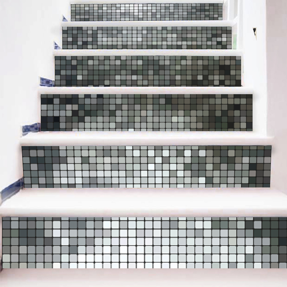 Black <font><b>and</b></font> <font><b>White</b></font> <font><b>Mosaic</b></font> <font><b>Tiles</b></font> Pattern Stair Stickers Decals Kids Love Removable Waterproof Stairway Vinyl Stickers for Home Decor