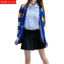 HOT Free shipping 2016 new autumn fashion women high quality cartoon yellow Winnie the blue button knit cardigan sweater