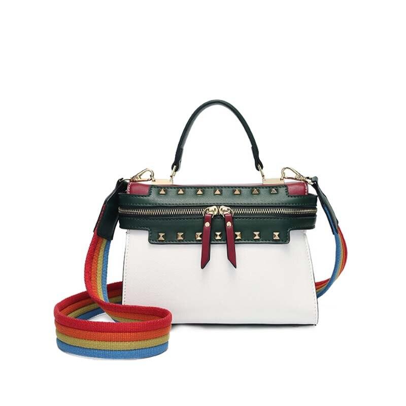 Elegant fashion 2018 new trendy fashion handbags simple wild rainbow broadband Korean winter Messenger bag fashion elegant m