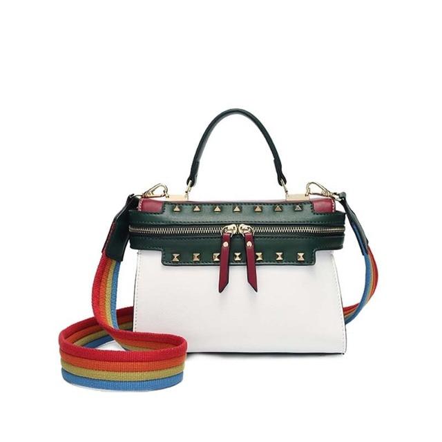 Elegant Fashion 2018 New Trendy Handbags Simple Wild Rainbow Broadband Korean Winter Messenger Bag