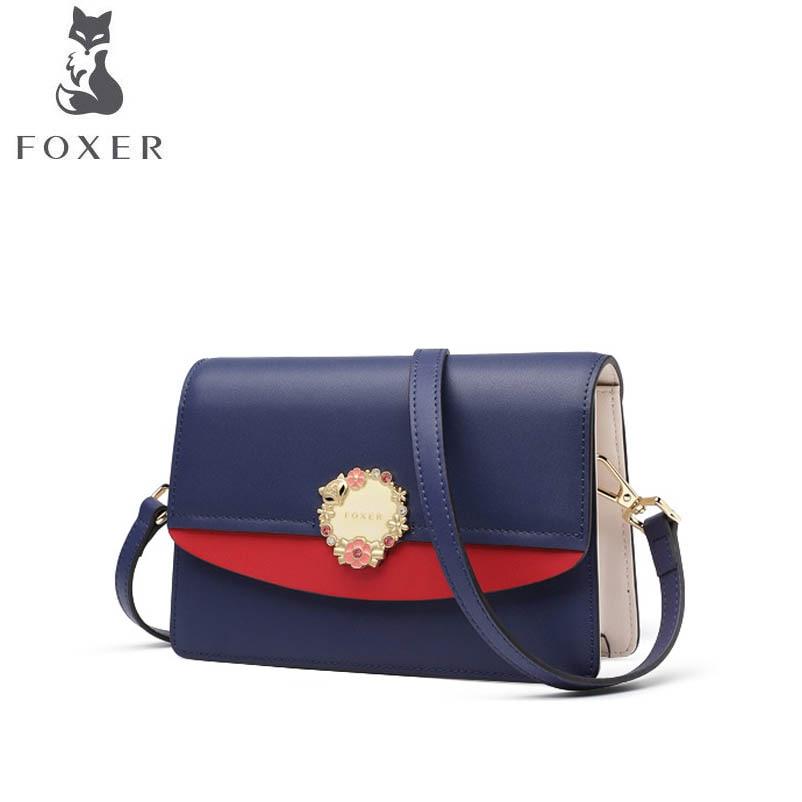 e2099a361d2d FOXER 2019 новая кожаная седельная сумка модная универсальная сумка через  плечо дизайнерская сумка женская
