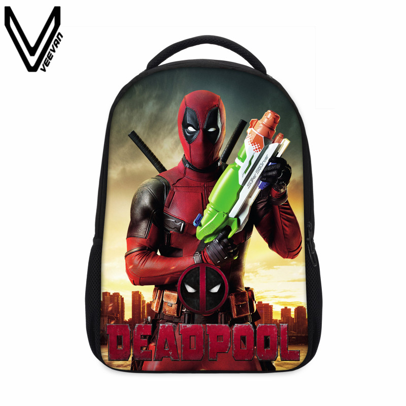 ad5e72ec9e4a 2016 Cool Men Hero Deadpool Backpacks 3D Printing Shoulder School Bag For  Teenagers Mochila Masculina Bookbag